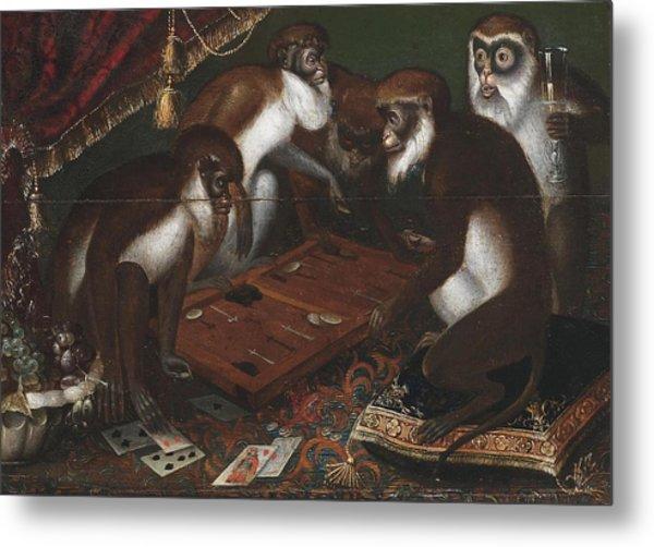 Playing Baboons Metal Print