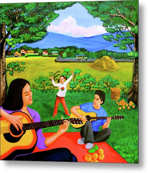 Playing Melodies Under The Shade Of Trees Metal Print