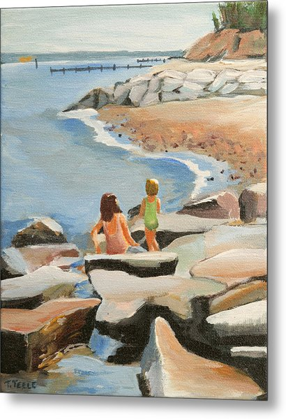 Playing On The Jetties Metal Print