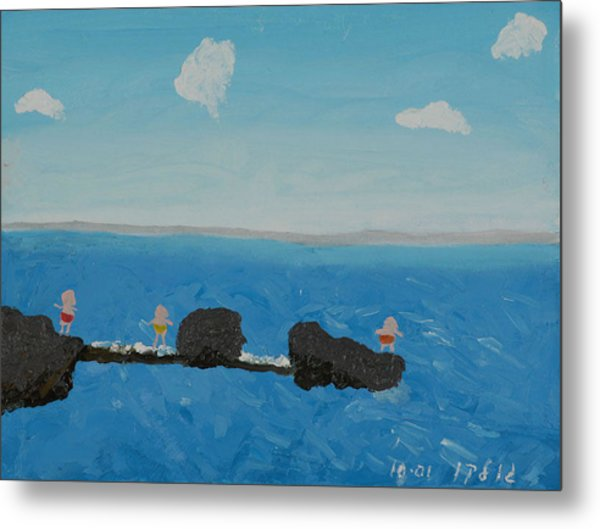 Playing On The Pier Metal Print by Harris Gulko