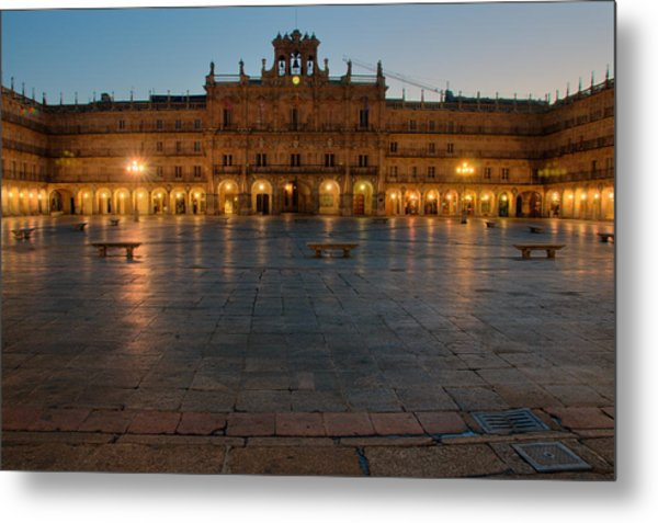 Plaza Mayor In Salamanca Metal Print by Amber Lea Starfire