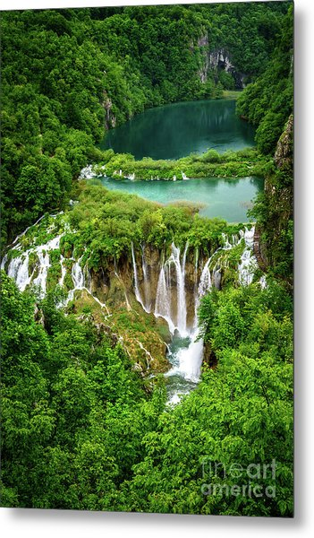 Plitvice Lakes National Park - A Heavenly Crystal Clear Waterfall Vista, Croatia Metal Print