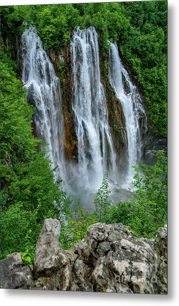 Plitvice Lakes Waterfall - A Balkan Wonder In Croatia Metal Print