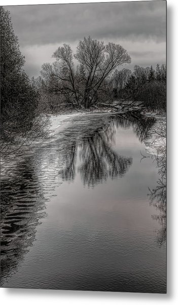 Plover River Black And White Winter Reflections Metal Print