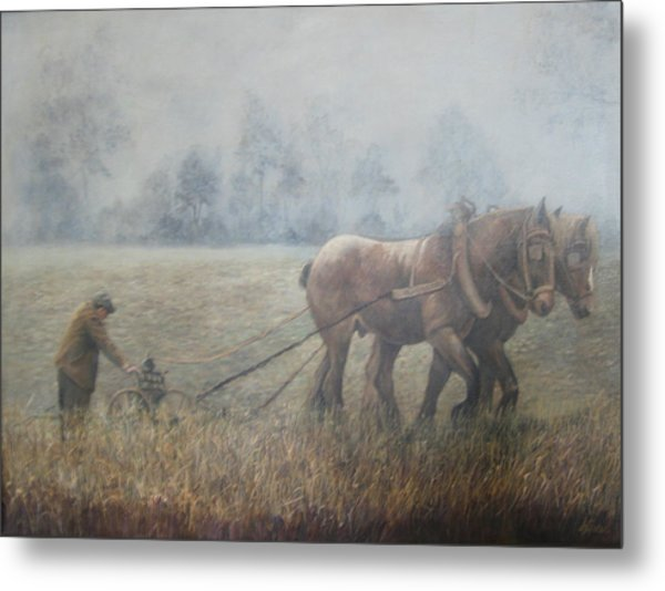 Plowing It The Old Way Metal Print