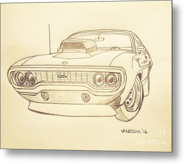 Plymouth Gtx American Muscle Car - Antique  Metal Print