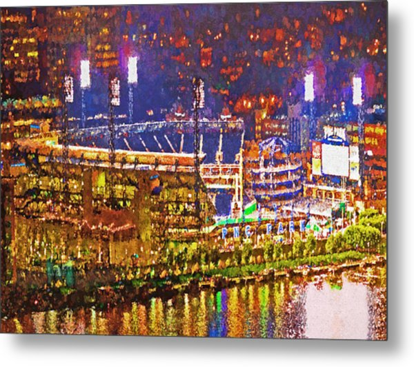 Pnc Park On A Light Up Night Metal Print