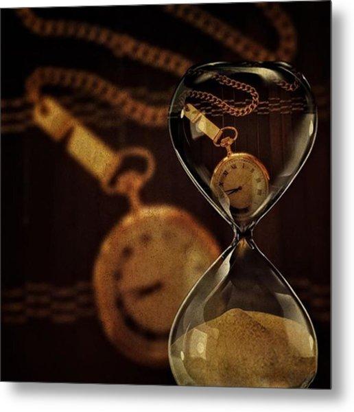 Pocket Watch And Sandglass Metal Print