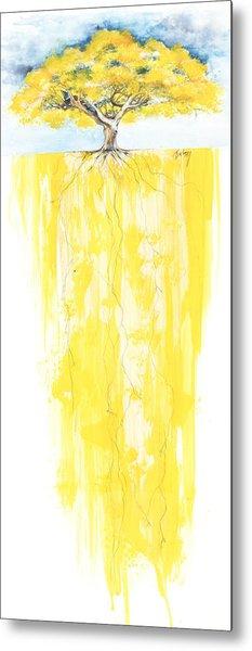 Poinciana Tree Yellow Metal Print