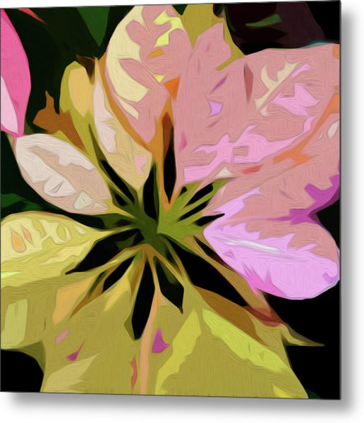 Poinsettia Tile Metal Print