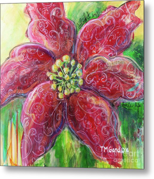 Metal Print featuring the painting Poinsettia by TM Gand