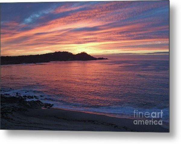 Point Lobos Red Sunset Metal Print