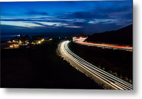 Point Vincente Light Trails Metal Print