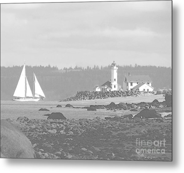 Point Wilson Lighthouse And Sailboat Metal Print