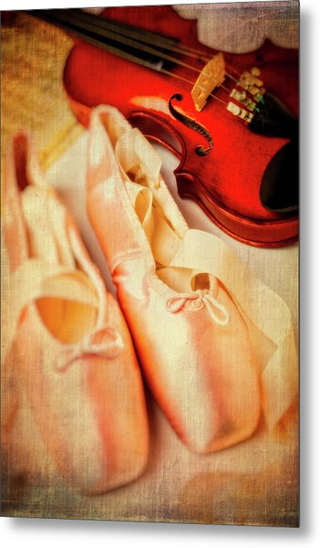 Pointe Shoes And Violin Metal Print