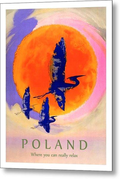 Poland, Flying Storks On The Sun, Travel Poster Metal Print