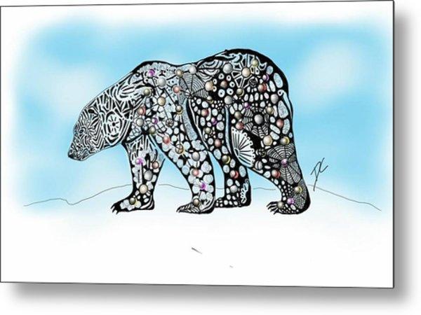 Polar Bear Doodle Metal Print
