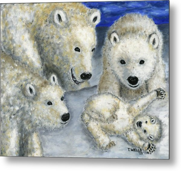 Polar Bears At Play In The Arctic Metal Print by Tanna Lee M Wells