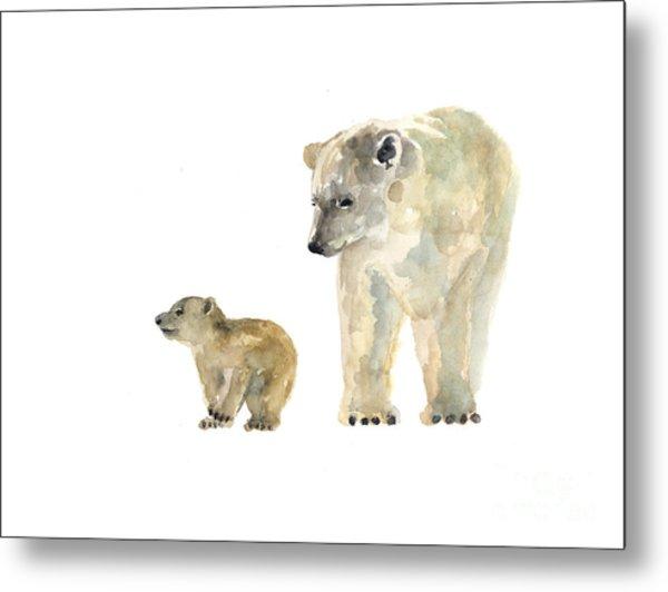 Polar Bears Watercolor Art Print Painting  Metal Print