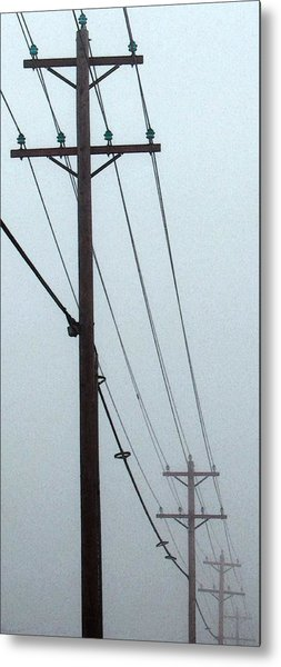 Poles In Fog - View On Left Metal Print