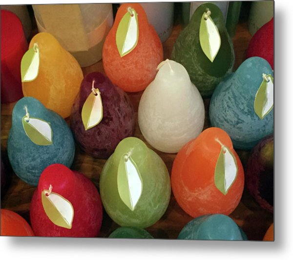 Polychromatic Pears Metal Print
