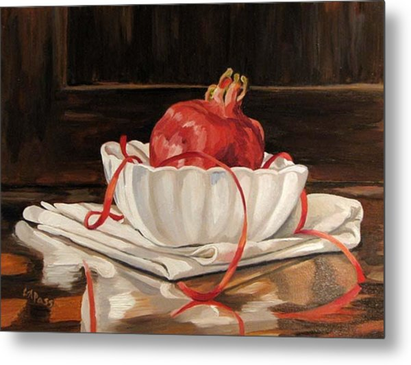 Pomegranate In White Metal Print by Cheryl Pass