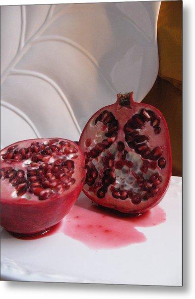 Pomegranate Slice Metal Print