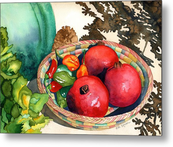 Pomegranates And Basket Metal Print by Eunice Olson