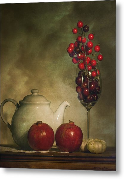 Pomegranates And Tea Pot Metal Print