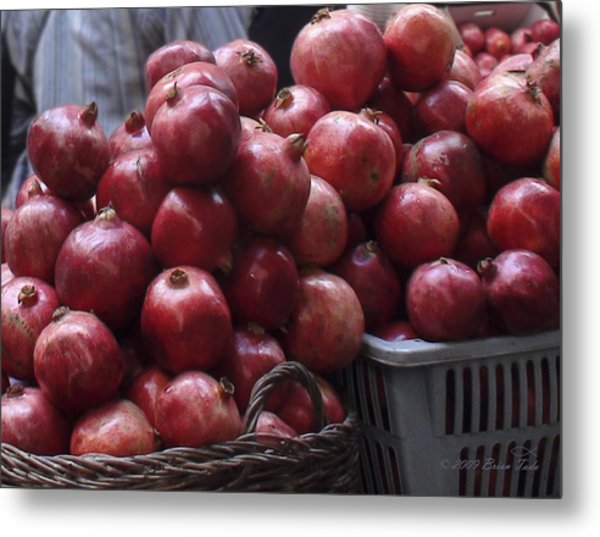 Pomegranates At Jerusalem's Old City Market Metal Print