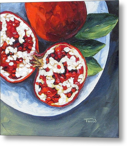 Pomegranates On A Plate  Metal Print by Torrie Smiley