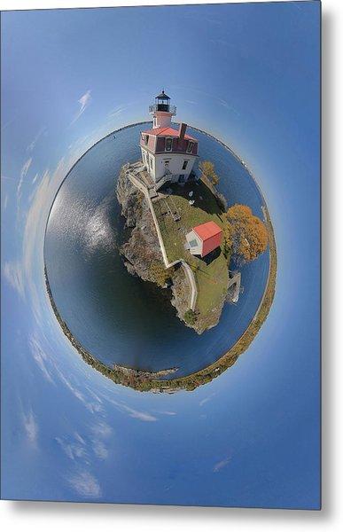 Pomham Rocks Lighthouse Little Planet Metal Print by Christopher Blake