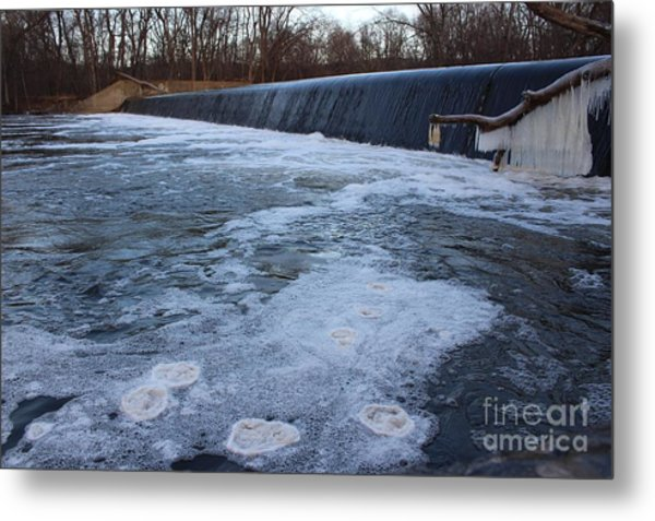 Pompton Spillway In Winter 2 Metal Print