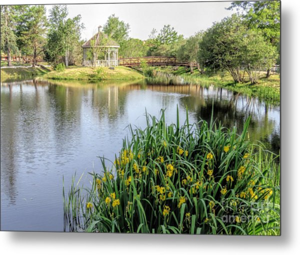 Pond And Gazebo At Cordage Park   Metal Print by Janice Drew