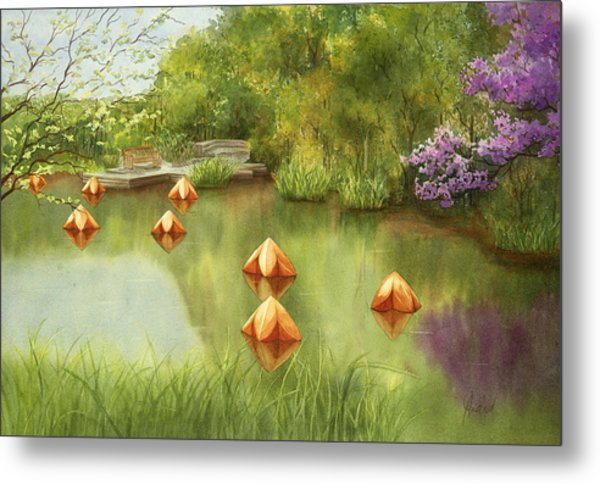 Pond At Olbrich Botanical Garden Metal Print