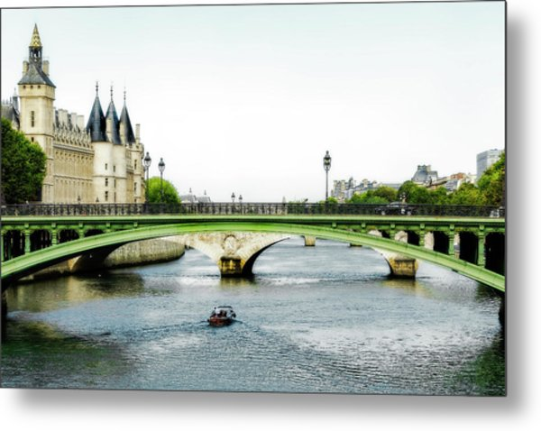 Pont Au Change Over The Seine River In Paris Metal Print
