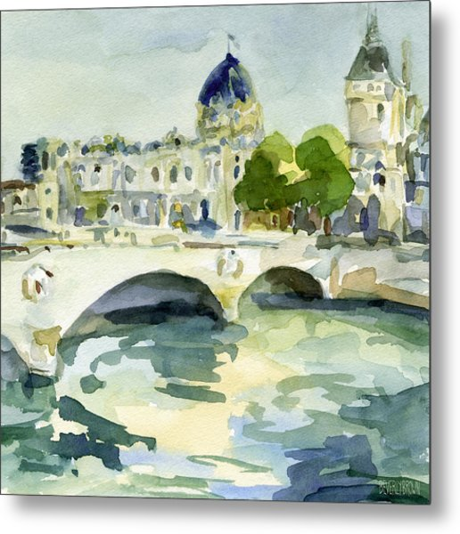 Pont De Change Watercolor Paintings Of Paris Metal Print