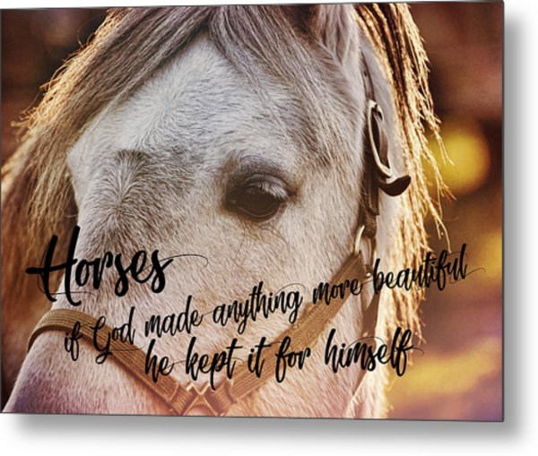 Pony At Sunset Quote Metal Print