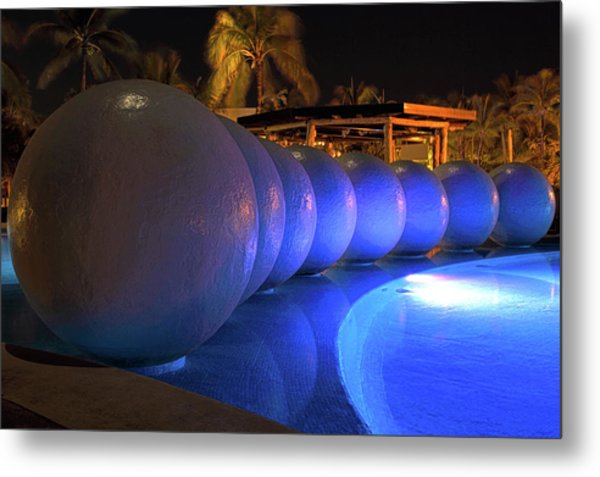 Pool Balls At Night Metal Print