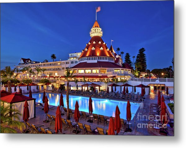 Poolside At The Hotel Del Coronado  Metal Print