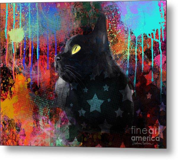 Pop Art Black Cat Painting Print Metal Print