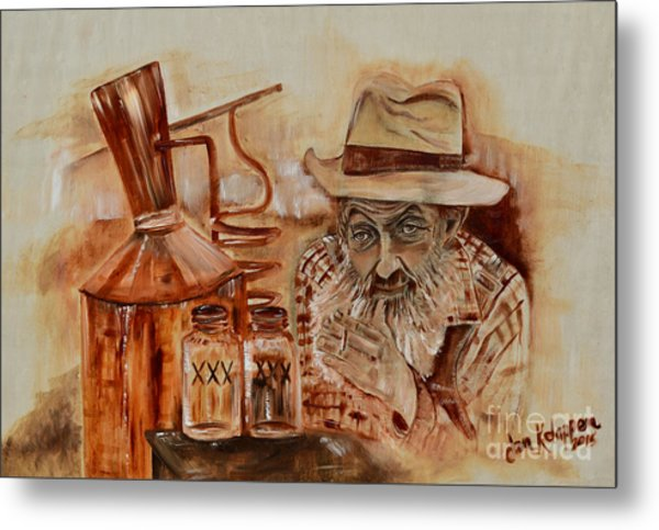 Popcorn Sutton - Waiting On Shine Metal Print