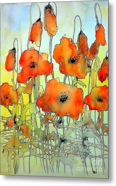 Poppies Abstraction Metal Print