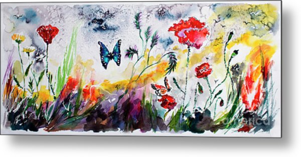 Poppies And Butterflies Whimsical French Garden Metal Print
