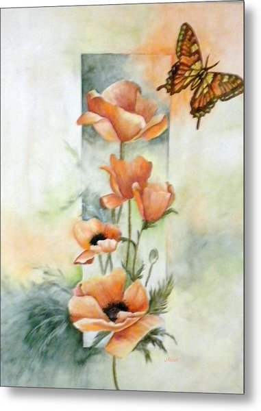 Poppies And Butterfly Metal Print