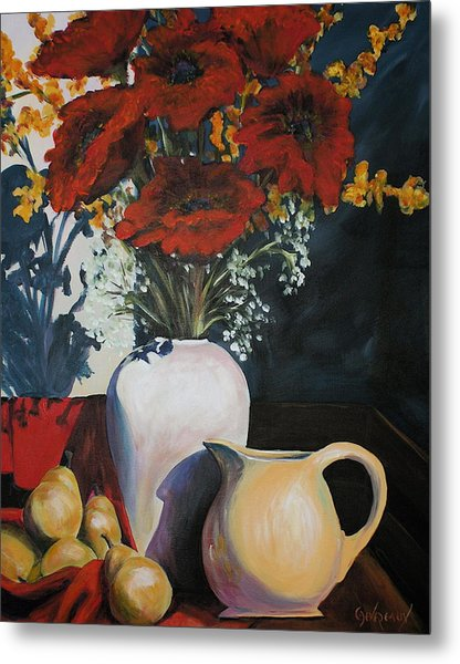 Poppies And Pears Metal Print