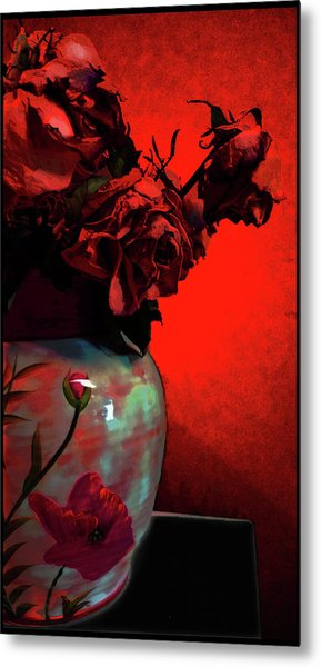 Poppies And Roses Metal Print