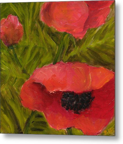 Poppies Diptych B Metal Print by Rita Bentley