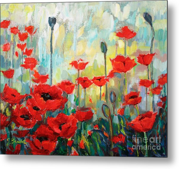 Poppies In Bloom Metal Print