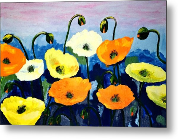 Poppies In Colour Metal Print